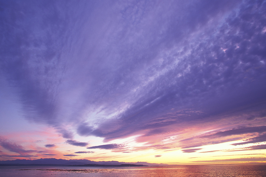 Sunset over Strait of Juan de Fuca (Olympic Mountains in background), Fort Casey State Park, Coupeville, Washington