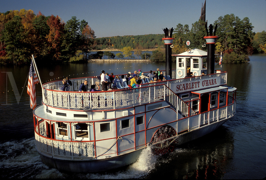 riverboat, paddle-boat, tour boat, Georgia, GA, Atlanta, The Scarlet O'Hara side-wheeler Riverboat Cruise takes people around the lake in the fall at Georgia's Stone Mountain Park.