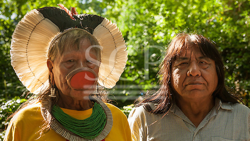 10 June 2014. Kayapo Chiefs Raoni Metuktire and Megaron Txucarramae during their visit to London. The chiefs stand proudly for a portrait in a London park.