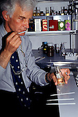 Dubendorf, Switzerland. Dr Roman Kaiser, researcher in environmental scents, in his laboratory.
