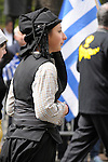 Greek Parade in New York City. A girl in costume in the Greek Parade in New York City.