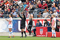 Houston, TX - Sunday April 08, 2018: Sponsor during an International Friendly soccer match between the USWNT and Mexico at BBVA Compass Stadium.
