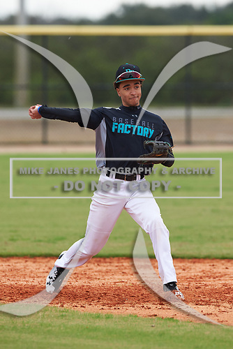 Kaden Saunders (5) of Columbus, Ohio during the Baseball Factory All-America Pre-Season Rookie Tournament, powered by Under Armour, on January 13, 2018 at Lake Myrtle Sports Complex in Auburndale, Florida.  (Michael Johnson/Four Seam Images)