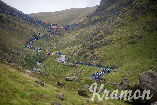 Peloton up Honister Pass in the beautiful, brutal Cumbrian Mountains<br /> <br /> Tour of Britain<br /> stage 2: Carlisle to Kendal (187km)