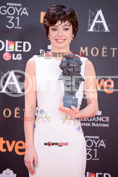 Anna Castillo pose to the media with the Goya award at Madrid Marriott Auditorium Hotel in Madrid, Spain. February 04, 2017. (ALTERPHOTOS/BorjaB.Hojas) /NORTEPHOTO.COM