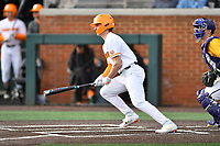 University of Tennessee Evan Russell (6) swings at a pitch during a game against Western Illinois at Lindsey Nelson Stadium on February 15, 2020 in Knoxville, Tennessee. The Volunteers defeated Leathernecks 19-0. (Tony Farlow/Four Seam Images)