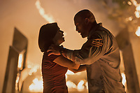 Skyscraper (2018) <br /> Neve Campbell &amp; Dwayne Johnson<br /> *Filmstill - Editorial Use Only*<br /> CAP/MFS<br /> Image supplied by Capital Pictures