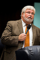 TALLAHASSEE, FLA. 5/3/13-SESSIONEND050313CH-Sen. Jack Latvala, R-Clearwater, talks about his bill to speed up the foreclosure process prior to the Senate passing it during the final day of the legislative session May 3, 2013 at the Capitol in Tallahassee. The bill now heads to the Governor...COLIN HACKLEY PHOTO
