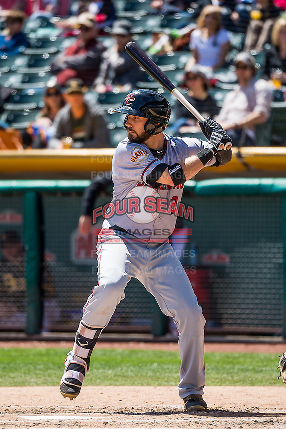 Ryan Lollis (2) of the Sacramento River Cats at bat against the Salt Lake Bees in Pacific Coast League action at Smith's Ballpark on May 01, 2016 in Salt Lake City, Utah. Sacramento defeated Salt Lake 16-6.  (Stephen Smith/Four Seam Images)
