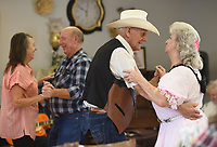 NWA Arkansas Democrat-Gazette/DAVID GOTTSCHALK Clyde and Jewell Barnett dance Tuesday, November 26, 2019, at the Farmington Senior Activity and Wellness Center. The unnamed band invites musicians and singers off all skill levels to participate in the weekly dance. The center will be closed Thursday and Friday of this week for the Thanksgiving Holiday.