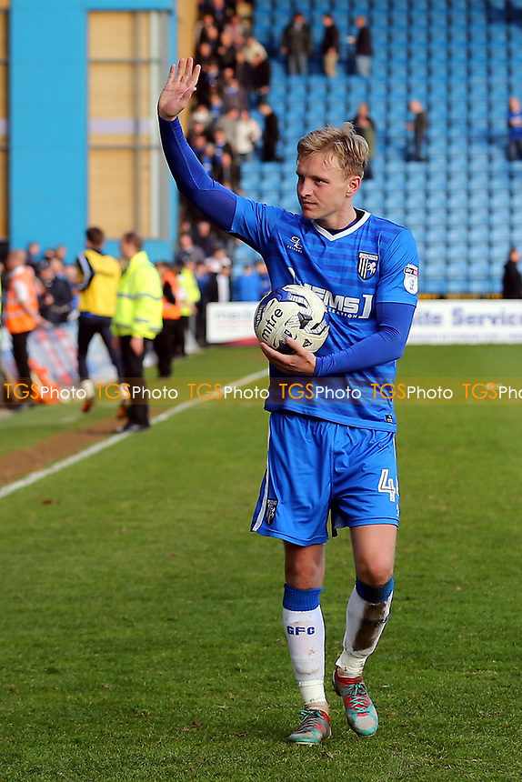 Gillingham's Josh Wright waves at the crowd as he celebrates at the final whistle with the match ball after scoring a hat-trick of penalties during Gillingham vs Scunthorpe United, Sky Bet EFL League 1 Football at the MEMS Priestfield Stadium on 11th March 2017