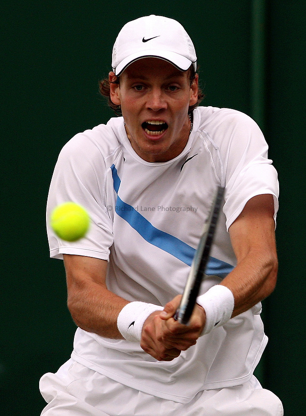 Photo: Paul Thomas..Wimbledon Championships. 05/07/2007...Tomas Berdych (CZE) in action against Jonas Bjorkman.