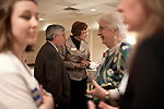 March 24, 2010. Raleigh, North Carolina.. Democratic candidate for senate, Elaine Marshall, seen here speaking with constituents, will run against Republican Richard Burr in the fall election, after winning a run off with Cal Cunningham.. The Democratic Women of Wake County hosted a forum for candidates who are running in the primary in hopes of unseating Senator Richard Burr (R) in this fall's midterm election. .