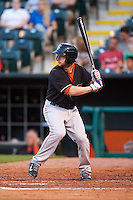 Fresno Grizzles outfielder Robbie Grossman (15) at bat during a game against the Oklahoma City Dodgers on June 1, 2015 at Chickasaw Bricktown Ballpark in Oklahoma City, Oklahoma.  Fresno defeated Oklahoma City 14-1.  (Mike Janes/Four Seam Images)