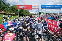 Picture by Allan McKenzie/SWpix.com - 16/07/17 - Cycling - HSBC UK British Cycling Grand Prix Series - Velo29 Altura Stockton Grand Prix - Stockton, England - Riders being gridded, HSBC UK, British Cycling, gantry , branding.