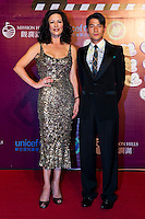 HAIKOU, CHINA - OCTOBER 29:  Hollywood actress Catherine Zeta-Jones (L) and Hong Kong actor Aaron Kwok attend red carpet during day three of the Mission Hills Start Trophy tournament at Mission Hills Resort on October 29, 2010 in Haikou, China. Photo by Victor Fraile / studioEAST