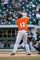 Dariel Alvarez (12) of the Norfolk Tides at bat against the Charlotte Knights at BB&T BallPark on April 20, 2016 in Charlotte, North Carolina.  The Knights defeated the Tides 6-3.  (Brian Westerholt/Four Seam Images)
