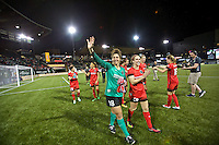 Portland, Oregon - Sunday April 17, 2016: Portland Thorns FC goalkeeper Michelle Betos (18) celebrates after the match. The Portland Thorns play the Orlando Pride during a regular season NWSL match at Providence Park. The Thorns won 2-1.