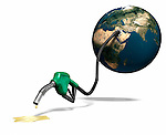 Last drops of gasoline coming out of a gas station nozzle connected to the Earth. Isolated illustration on white background.
