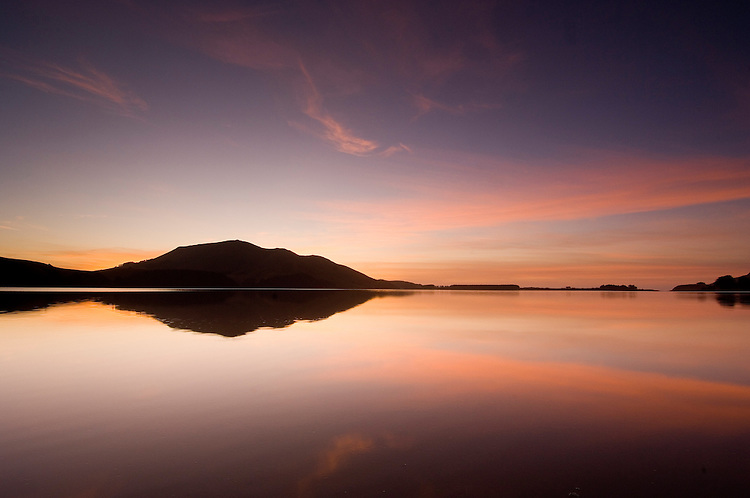 Serene sunrise relfection at Hoopers Inlet on the Otago Peninsula. Dunedin New Zealand - stock photo, canvas, fine art print