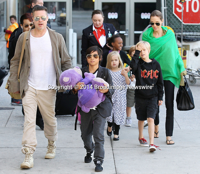 Pictured: Brad Pitt, Angelina Jolie, Shiloh Nouvel Jolie-Pitt, Maddox Chivan Jolie-Pitt, Pax Thien Jolie-Pitt, Knox Leon Jolie-Pitt, Zahara Marley Jolie-Pitt, Vivienne Marcheline Jolie-Pitt<br /> Mandatory Credit &copy; Ben Foster/Broadimage<br /> Brad Pitt, Angelina Jolie and family arriving at the Los Angeles International Airport<br /> <br /> 2/5/14, Los Angeles, California, United States of America<br /> <br /> Broadimage Newswire<br /> Los Angeles 1+  (310) 301-1027<br /> New York      1+  (646) 827-9134<br /> sales@broadimage.com<br /> http://www.broadimage.com<br /> <br /> <br /> Pictured: Brad Pitt, Angelina Jolie, Shiloh Nouvel Jolie-Pitt, Maddox Chivan Jolie-Pitt, Pax Thien Jolie-Pitt, Knox Leon Jolie-Pitt, Zahara Marley Jolie-Pitt, Vivienne Marcheline Jolie-Pitt<br /> Mandatory Credit &copy; Ben Foster/Broadimage<br /> Brad Pitt, Angelina Jolie and family arriving at the Los Angeles International Airport<br /> <br /> 2/5/14, Los Angeles, California, United States of America<br /> Reference: 020514_HDLA_BDG_019<br /> <br /> Broadimage Newswire<br /> Los Angeles 1+  (310) 301-1027<br /> New York      1+  (646) 827-9134<br /> sales@broadimage.com<br /> http://www.broadimage.com