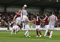 Steven Thompson wins the defensive header in the St Mirren v Heart of Midlothian Clydesdale Bank Scottish Premier League match played at St Mirren Park, Paisley on 15.9.12.