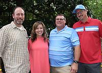 NWA Democrat-Gazette/CARIN SCHOPPMEYER Kyle and Darah Bennett (from left), Shawn Hodge and David Herron enjoy Gardens on Tap.