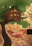 Human hand safeguarding treehouse from falling depicting home insurance