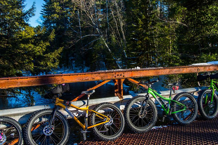 Winter cycling fat biking snow biking in Marquette, Michigan.