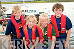 0719-0722.---------.Floating.--------.L-R Brian&A?ine Devine with Nessa Toomey and Gearoid Breathnach all from Dingle about to take to the water in the U14 4 hand race at the Brandon regatta last Sunday.