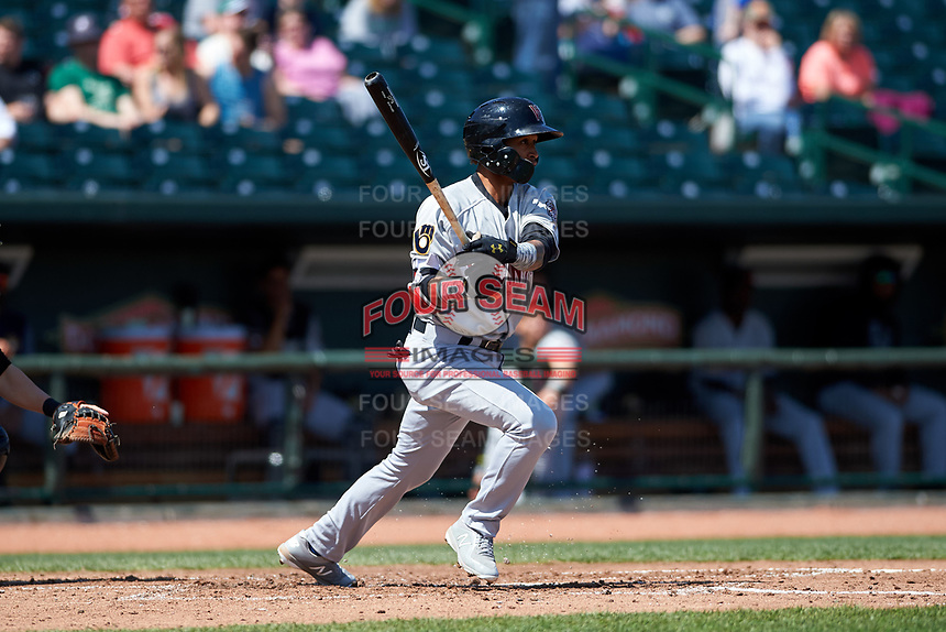 Wisconsin Timber Rattlers Yeison Coca (1) at bat during a Midwest League game against the Great Lakes Loons at Dow Diamond on May 4, 2019 in Midland, Michigan. Great Lakes defeated Wisconsin 5-1. (Zachary Lucy/Four Seam Images)