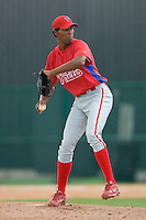 Miguel Matos #63 of the GCL Phillies in action versus the GCL Braves at Disney's Wide World of Sports Complex, July 13, 2009, in Orlando, Florida.  (Photo by Brian Westerholt / Four Seam Images)
