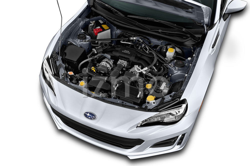 Car Stock 2017 Subaru BRZ Limited 2 Door Coupe Engine  high angle detail view
