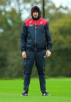 Swansea manager Paul Clement watches his players train during the Swansea City Training at The Fairwood Training Ground, Swansea, Wales, UK. Wednesday 11 October 2017