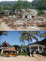 Khao Lak Palm Beach (left) and And Khao Lak Sunset Resort were partly destroyed by the tsunami  that struck Asia and Thailand on the morning of Dec 26, 2004. .Five years later both have been rebuilt and tourists have to a large extent returned.