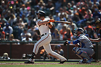 SAN FRANCISCO, CA - APRIL 8:  Evan Longoria #10 of the San Francisco Giants bats against the Los Angeles Dodgers during the game at AT&T Park on Sunday, April 8, 2018 in San Francisco, California. (Photo by Brad Mangin)