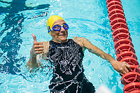 Picture By Allan Mckenzie/SWpix.com - 28/10/2017 - Swimming - Swim England Masters National Champs - Ponds Forge International Sports Centre, Sheffield, England - Jane Asher, the oldest competitor on the day at 86 after her Womens open 50m butterfly heat.