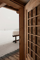 The chalet has been completely snowed-in