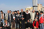 Members of Italian activists delegation attend a press conference during a visit to the Gaza seaport, in Gaza City on January 07, 2014. The Italian delegation had been visiting the Gaza Strip since Thursday evening, to express solidarity with the besieged coastal enclave and brought with them quantities of medicines and medical aid. Photo by Ashraf Amra