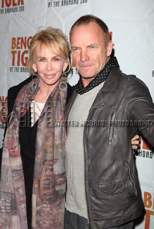 Trudie Styler & Sting.attending the Broadway Opening Night Performance of 'Bengal Tiger At The Baghdad Zoo' at the Richard Rodgers Theatre in New York City.