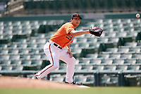 Baltimore Orioles Ryan Ripken (50) stretches for a throw during an Instructional League game against the Pittsburgh Pirates on September 27, 2017 at Ed Smith Stadium in Sarasota, Florida.  (Mike Janes/Four Seam Images)