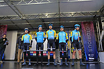 Team Kazakhstan at sign on before the Men Elite Road Race of the UCI World Championships 2019 running 280km from Leeds to Harrogate, England. 29th September 2019.<br /> Picture: Eoin Clarke | Cyclefile<br /> <br /> All photos usage must carry mandatory copyright credit (© Cyclefile | Eoin Clarke)