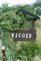 Typical street sign in the village of Magozd, near Kobarid in Slovenia