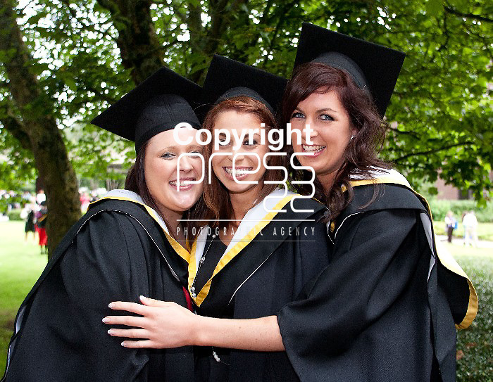 31.08.12  Attending the University of Limerick Conferrings on Friday afternoon were, Danielle Corkery, Mallow Co. Cork, Aoife Fitzgerald, Cappamore Co. Limerick and Sinead Prederville, Tarbert Co. Kerry who all conferref with BA Joint Honours. Pic. Alan Place / Press 22