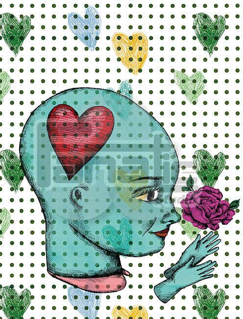 Illustration of woman with rose and hearts representing love
