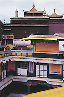 Brightly coloured balconies, awnings and roofs inside the Potala Palace.