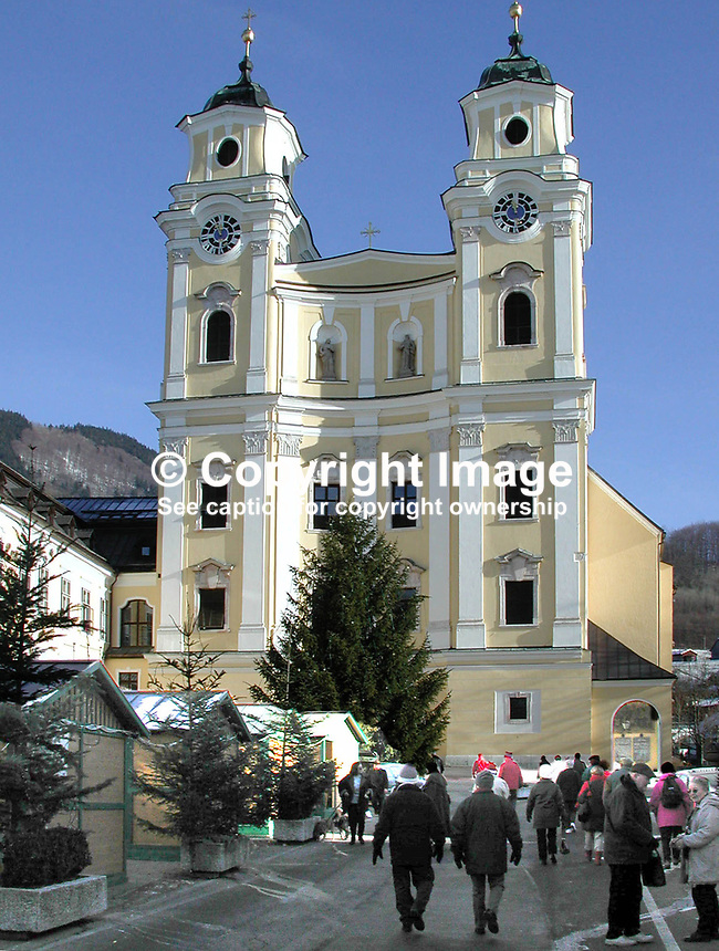 Mondsee Cathedral, Austria, where the wedding ceremony in the Sound of Music was filmed. However in the film they emerged from an entirely different building, Salzburg Cathedral! Such are the ways of Holywood. 2000121335..Copyright Image from Victor Patterson, 54 Dorchester Park, Belfast, UK, BT9 6RJ..Tel: +44 28 9066 1296.Mob: +44 7802 353836.Voicemail +44 20 8816 7153.Skype: victorpattersonbelfast.Email: victorpatterson@mac.com.Email: victorpatterson@ireland.com (back-up)..IMPORTANT: If you wish to use this image or any other of my images please go to www.victorpatterson.com and click on the Terms & Conditions. Then contact me by email or phone with the reference number(s) of the image(s) concerned.