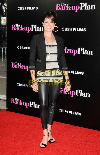 "TIFFANY MICHELLE .arriving at the premiere of CBS Films' ""The Back-up Plan"" at the Regency Village Theatre in Westwood, California, USA, April 21st 2010..arrivals full length black blazer jacket leggings shiny striped grey gray top ankle strap open toe sandals .CAP/ROT.©Lee Roth/Capital Pictures"