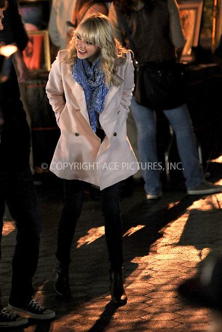 WWW.ACEPIXS.COM . . . . . .April 16, 2013...New York City...Emma Stone on the film set of 'The Amazing Spider Man 2 in Union Square on April 16, 2013 in New York City ....Please byline: KRISTIN CALLAHAN - ACEPIXS.COM.. . . . . . ..Ace Pictures, Inc: ..tel: (212) 243 8787 or (646) 769 0430..e-mail: info@acepixs.com..web: http://www.acepixs.com .
