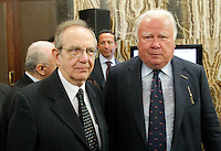 Ministro dell'economia  Pier Carlo Padoan con Maurizio Barracco partecipa al Convegno sul mezzogiorno alla fondazione Banco iNapoli